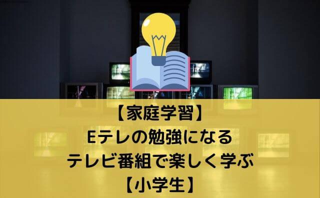 【家庭学習】Eテレの勉強になるテレビ番組で楽しく学ぶ【小学生】